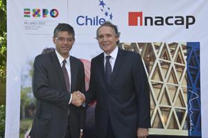 Gonzalo Vargas Otte, Rector de INACAP,  y  Lorenzo Constans Gorri, Comisionado General para Chile Expo Milán 2015.