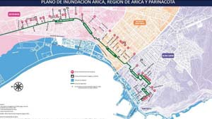 Plano inundación de Arica