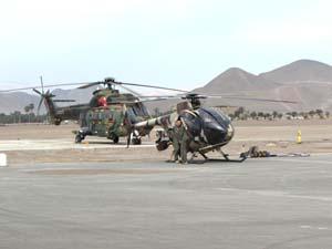 Helicópteros Cougar y MD530F participantes en los vuelos de instrucción de la BAVE  en la región