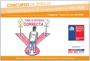 Dibujo ganador categoría Prevención de Sebastián García, 19 años, estudiante del Liceo Nocturno sede Junior College.